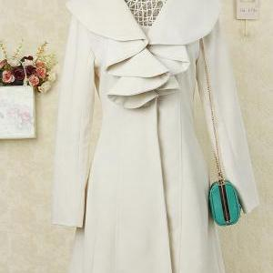 Long Sleeves Ruffles Lapel Beam Wai..