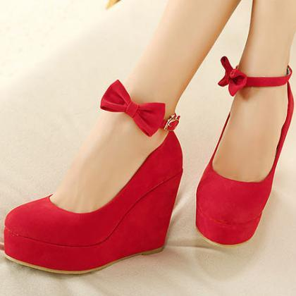 Red Ankle Strap Wedge Shoes With Bow on Luulla