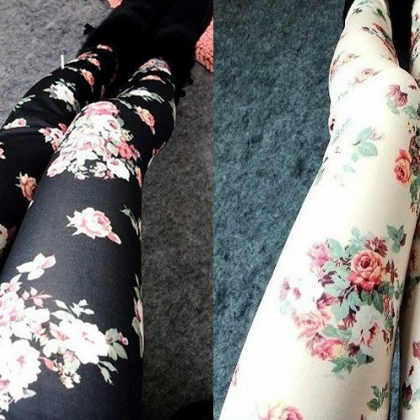 ROSE LEGGINGS PANTYHOSE JCHBC