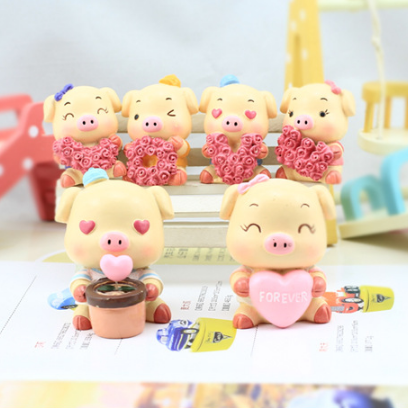 Resin handicrafts rose pig be deepl..