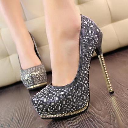 Black High Heel With Metal Diamond ..
