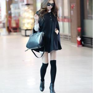 Black Poncho Cloak Cape Coat Wool J..