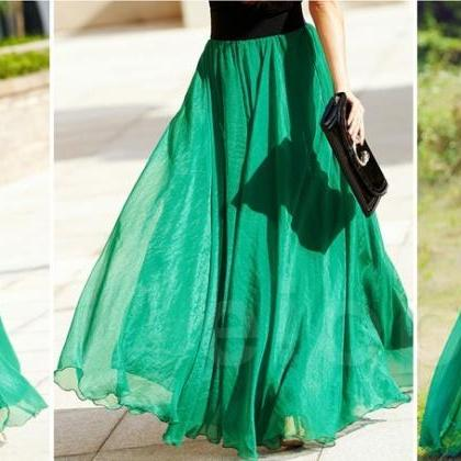 Emerald Green Long Chiffon Skirt Ma..