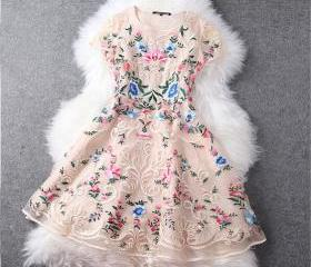 Luxury Designer Gorgeous Embroidered Lace Dress