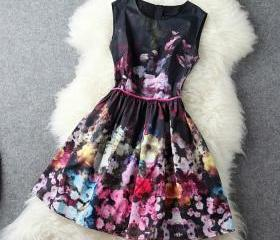 High-End Retro Sleeveless Vest SkirtA1