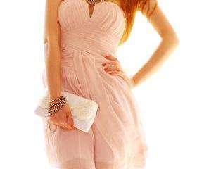 Pink Sweet Strapless Low-Cut Dress