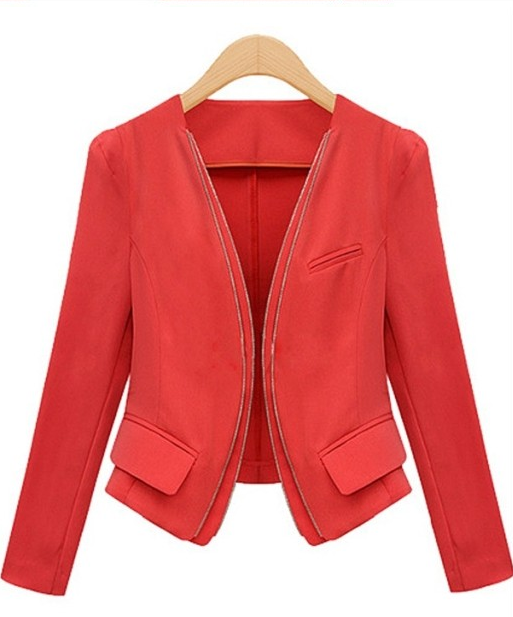 Europe and the United States new high-end women's double zipper small suit big code jacket