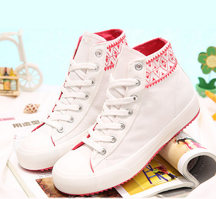 2015 autumn and winter high help tie canvas shoes female students shoes