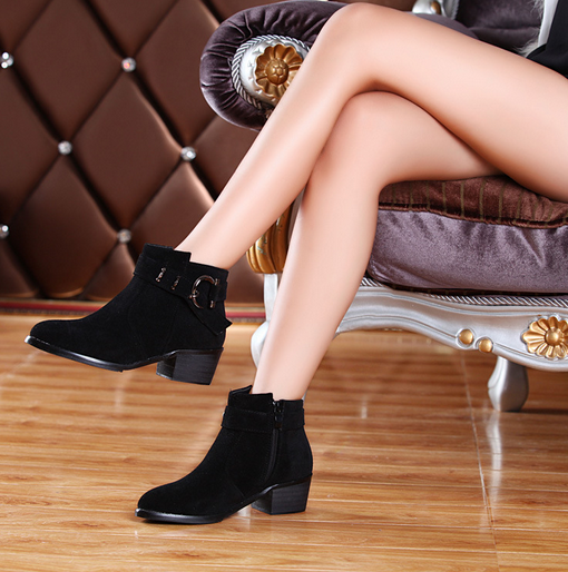 Women's new tip cashmere leather original metal buckle Martin boots boots