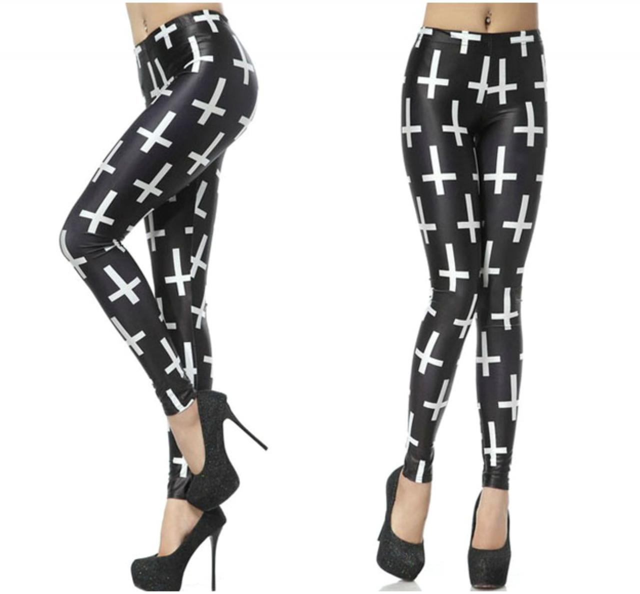 Black Cross Print Leggings
