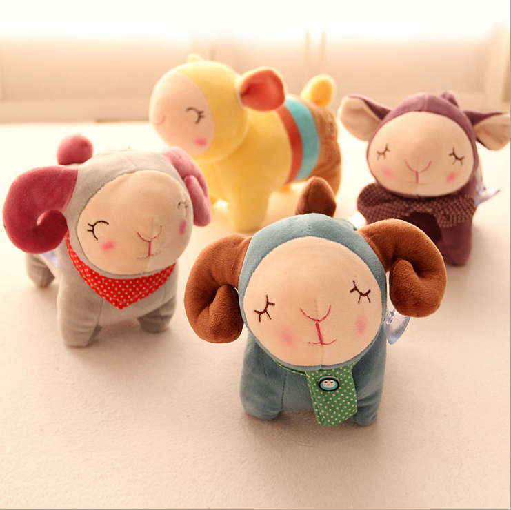 Lovely personality color small sheep plush doll doll sucker Pendant