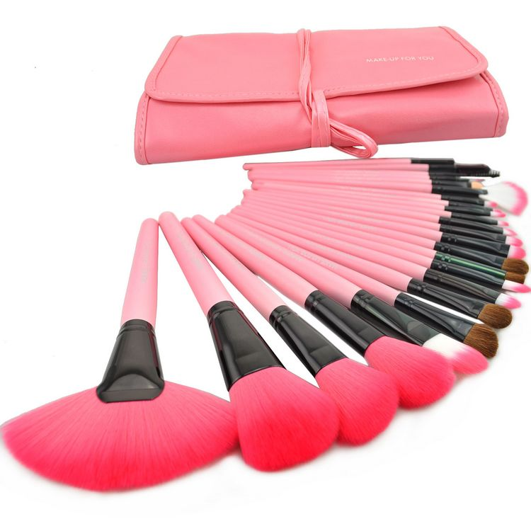 High Quality 24 Pcs/Set Makeup Brush Cosmetic Set Kit Packed In High Quality Leather Case - Pink