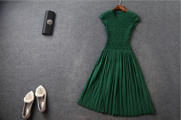 Fashion Pressure Plait Pleated Elasticity The Green Dress