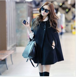 Black Poncho Cloak Cape Coat Wool Jacket