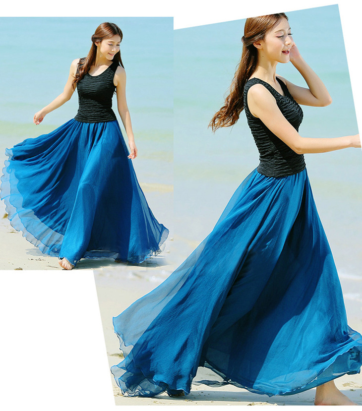 Peacock Blue Long Chiffon Skirt Maxi Skirt Ladies Silk Chiffon ...