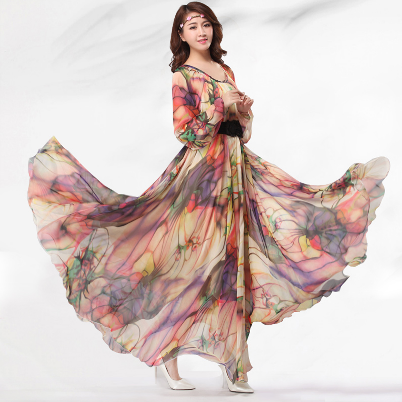 Summer chiffon floral long sleeve beach maxi dress for Long sleeve chiffon wedding dress