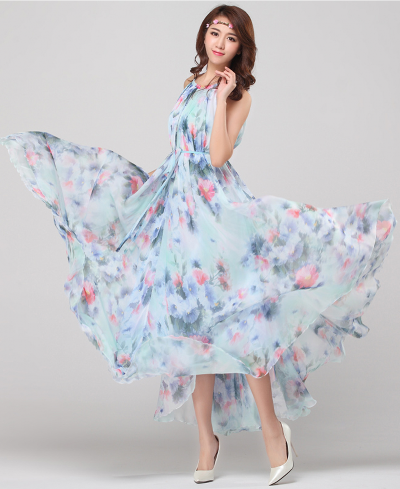 Chiffon water floral bridesmaid holiday beach lightweight for Floral beach wedding dresses