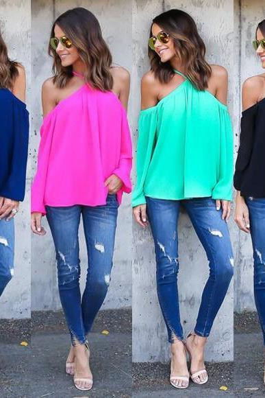 Sexy straps strapless long sleeve chiffon shirt tops