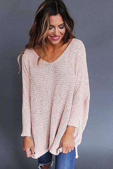 Europe and the United States new V-neck thick sweater sweater