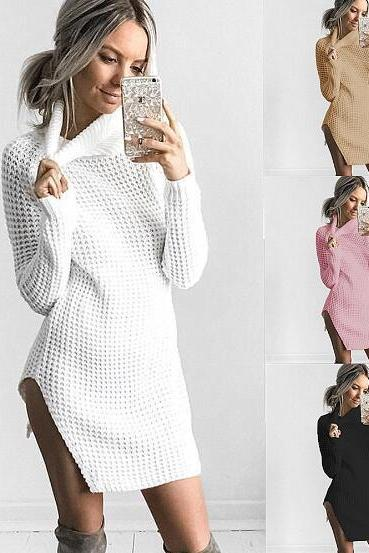 Europe and the United States new sexy split sweater turtleneck dress women