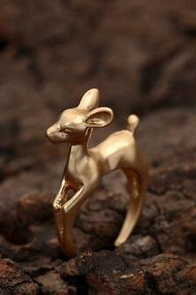Open ring Lovely 18K gold plated giraffe head simple ring