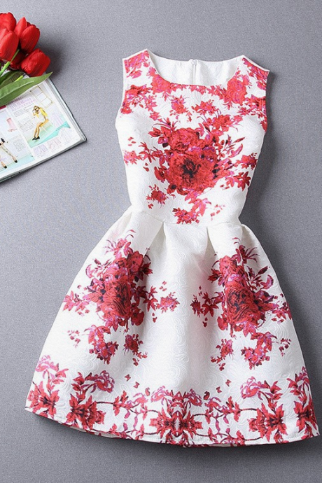 Blue, Red Flower Printed Casual Summer Dress