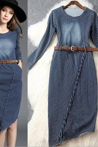 Sexy Denim Stripe Dress