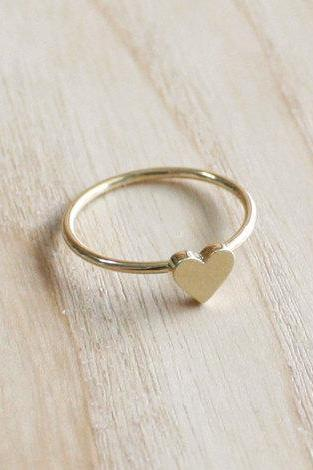 Tiny Heart Ring 7 Size In Gold Everyday Jewelry Delicate Minimal Jewelry
