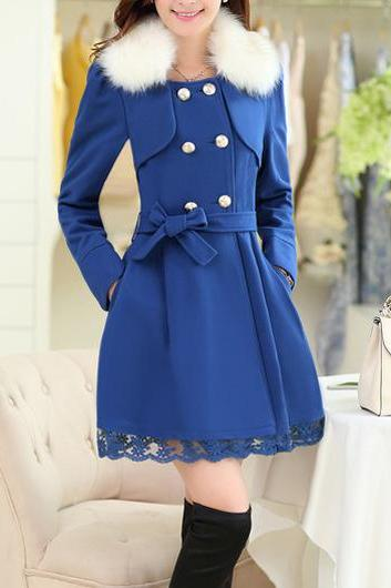 High Quality Glamorous Sapphire Double Breasted Coat With Lace - Blue