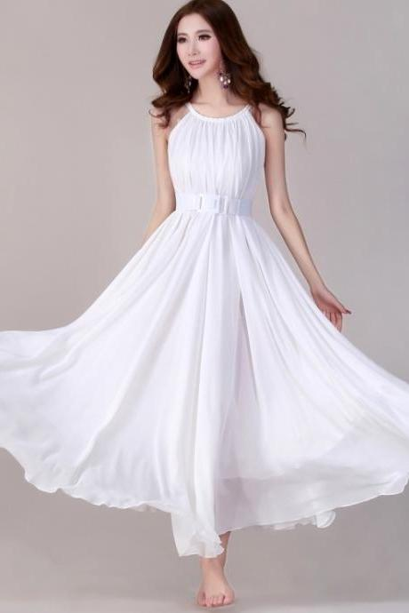 Summer White Wedding Party Maxi Dress Sundress For Holiday, Beach