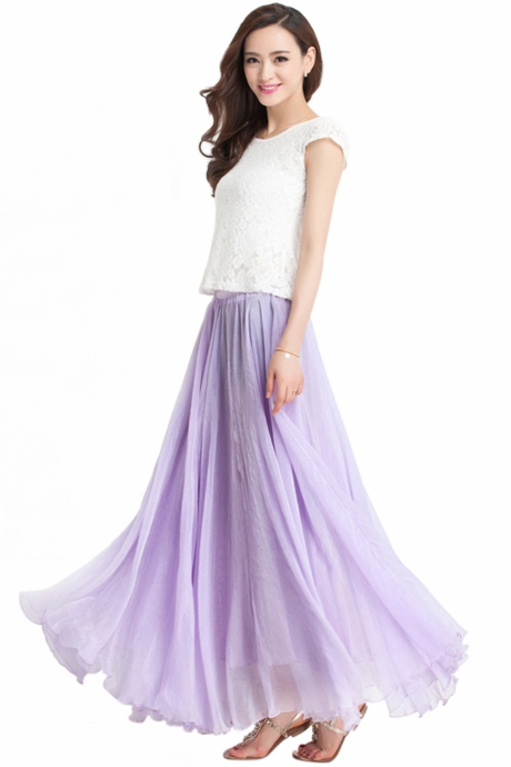 Lavender Long Chiffon Skirt Maxi Skirt Ladies Silk Chiffon Dress Plus Sizes Bridesmaid Sundress Beach Skirt