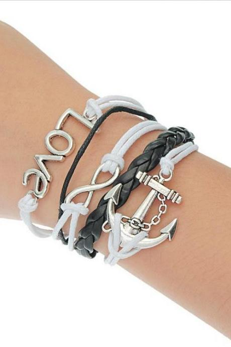 Anchor And Infinity Cute Leather Bracelet
