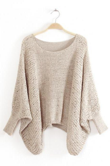 Loose Fit Knitted Sweater with Scoop Neckline and Irregular Hem