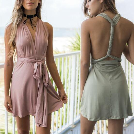 A-Line Deep V-Neck Lace-Up Blush Satin Short Homecoming Dress with Ruched