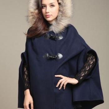 Navy Blue Faux Fur Coat