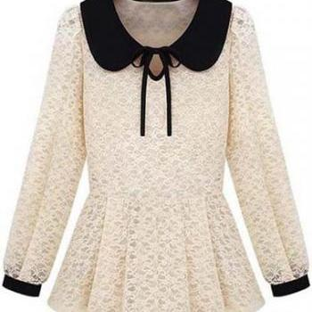 Cute Peter Pan Collar With Bow Beige Lace Top