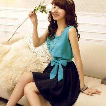 Free Shipping Bowknot Splicing Sleeveless Chiffon Dress