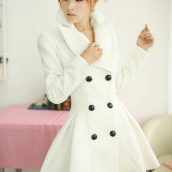Cultivate one's morality new winter female white twill veil double-breasted wool coat thick cloth coat qiu dong