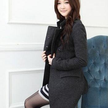 Female cloth coat in autumn and winter long woolen cloth han edition double-breasted coat thin coat dust coat
