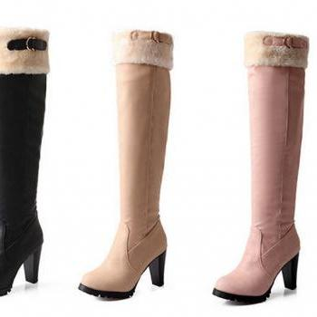 The 2015 round of coarse fashion boots with warm winter fur boots in the snow sexy knee high riding boots