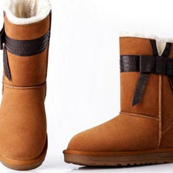 Fashion butterfly knot casual leather snow boots warm flat in tube