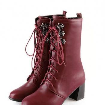 Autumn and winter warm female short boots round toe heel solid Martin boots boots boots female cross straps