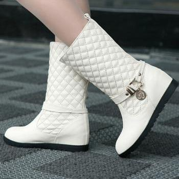 Europe and the United States all-match new winter boots are in round sleeve with inner increase metal female Xue Zi Knight boots