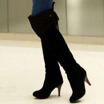 2015 new fashion over the knee boots rough with the back tie bow rider boots matte high boots