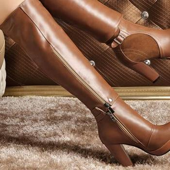 Winter 2015 New England wind all-match two wear boots round rough boots with leather buckle heeled BIKER BOOTS