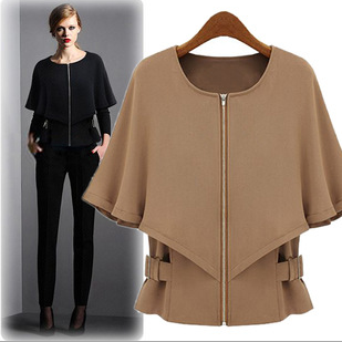 The 2015 European and American new significantly thinner version type slender all-match paragraph cape type sleeve winter jacket