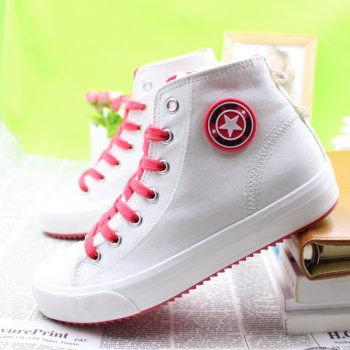 2015 new high canvas shoes to help female students white shoes lady