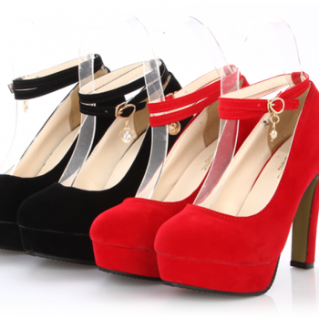 Round Toe Suede High Heel Pumps with Diamond Charm, Wedding Heels - Red, Black