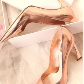 2015 new single shoe cusp high-heeled gold shoes