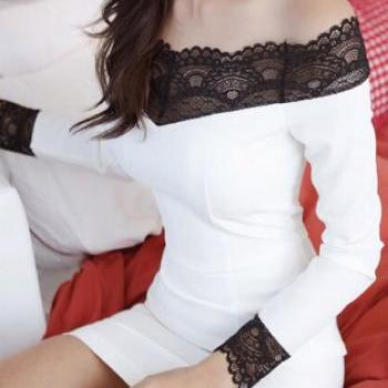 White Off Shoulder Dress With Beautiful Black Lace Detail